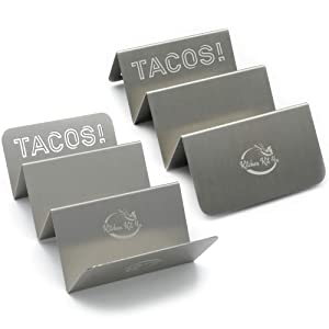 2 Pack Stylish Stainless-Steel Taco Holders | Dishwasher, Grill and Oven Safe | Dimensions 20x10x6cm | Designed for Long-Term Use by Kitchen Kit 4u