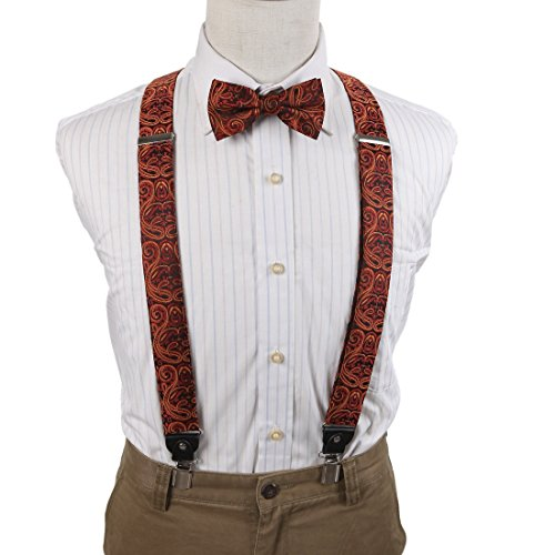 EFCB0020 Brown Black Paisley Microfiber Y-Back Suspender With Match Mens Bowties Stainless Steel Clip Inspire For Husband By Epoint