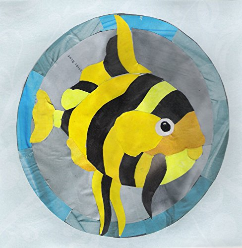 Tiger Fish Cut Paper, Recycled Paper Original Collage Art -