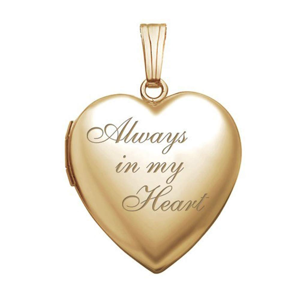 PicturesOnGold 14K Solid Yellow Gold / 14K Yellow Gold Filled Always in My Heart Locket - (3/4 X 3/4 Inch) (Locket + Photo)