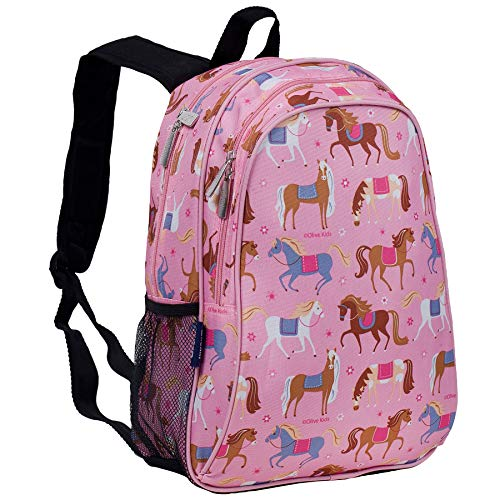 Wildkin 15 Inch Backpack, Extra Durable Backpack with Padded Straps and Interior Moisture-Resistant Lining, Perfect for School or Travel, Olive Kids Design – Horses