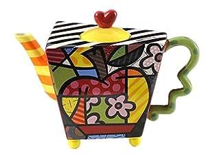 Britto Tetera, diseño de manzanas, cerámica, grande