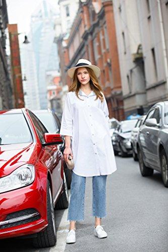 YOU.U Mujer Casual Camiseta Oversized Larga Y Corta (Haga Clic Para Ver Todos Los Modelos) Blanco2472