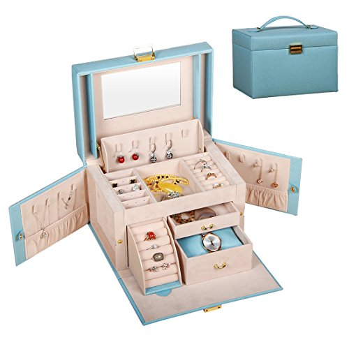 - PUSU Large Faux Leather Jewelry Box Organizer Travel Storage Display Case with Mirror for Girls Women,Keeps Necklaces Rings Earrings Safe Organized (Blue)