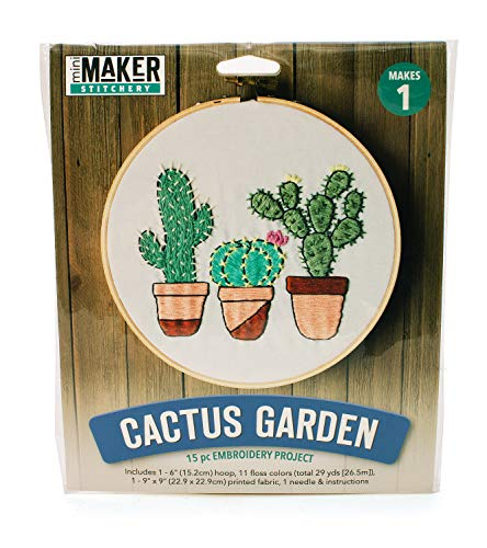 Mini Maker Cactus Garden Kit: 15 Piece Embroidery Project (kit, Embroidery, DIY, Cactus, Garden, Hoop, Mini Maker)