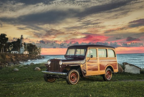 Willys Jeep Wagon - Willys Jeep Station Wagon (1949) Car Print on 10 Mil Archival Satin Paper Black Woodie Front Side Static View 16