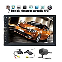 EinCar HD 7 Inch Car MP5 Player with Cpacitive Touch Screen in Dash Car Kit Bluetooth Hands-free Double 2 Din Car Deck GPS Navigation Head Unit with Optional Mirror Link& Free Wireless Camera