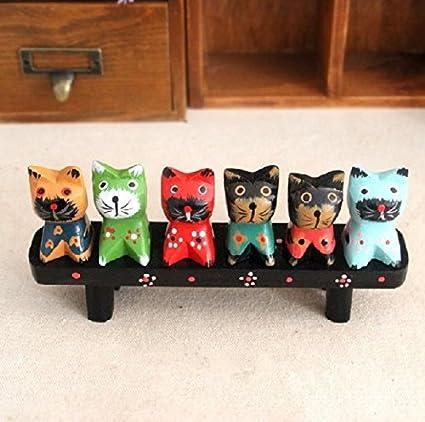 UChic 1set/7pieces Lindo Gato Madera Pintada a Mano los Amantes de los Pintado Gato