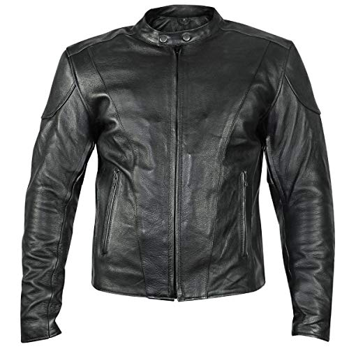 (Xelement B7209 'Renegade' Men's Black Leather Motorcycle Jacket - 5X-Large)