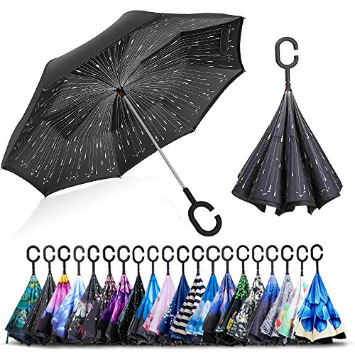 - ZOMAKE Double Layer Inverted Umbrella Cars Reverse Umbrella, UV Protection Windproof Large Straight Umbrella for Car Rain Outdoor With C-Shaped Handle (Rainy Day)