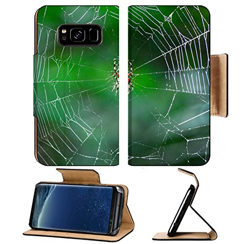 MSD Premium Samsung Galaxy S8 Flip Pu Leather Wallet Case IMAGE of spider web macro nature net insect network dew morning green animal closeup trap water silk