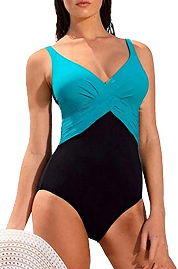 Socluer Monokini de Mujer Color Contraste Traje de baño Tankini de ...