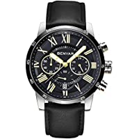 BENYAR Waterproof Chronograph Watches Business Casual Roman Numerals Leather Band Wrist Watch For Men (Black)