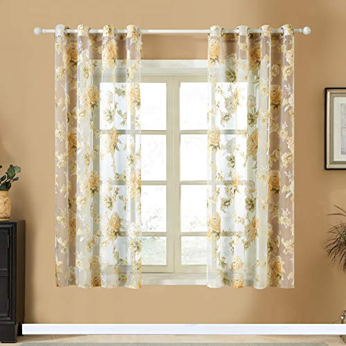 Top Finel Printed Floral Voile Sheer Curtains 72 Inches Long for Bedroom Living Room Grommet Window Curtains, 2 Panels, Yellow