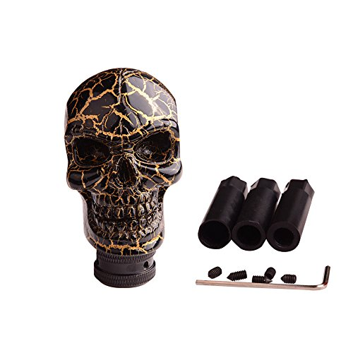 (SMKJ Universal Bone Resin Skull Head Style Car Shift Knob Shifter Knobs Lever Gear Stick for Most Manual or Automatic Transmission Vehicles(Gold))
