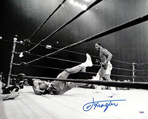 Joe Frazier Autographed Photo - BW 16x20 vs Ali #1 - PSA/DNA Certified - Autographed Boxing Photos
