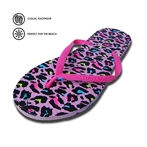 Rubber Cheetah Flops Casual Slippers Flip Print Womens Pink Chatties 07Otwt
