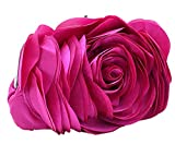 Bywen Womens Rose Pattern Purse Party Clutch Shoulder Bags Hot Pink