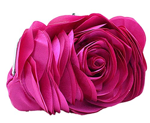 Bywen Womens Rose Pattern Purse Party Clutch Shoulder Bags Hot Pink by Bywen