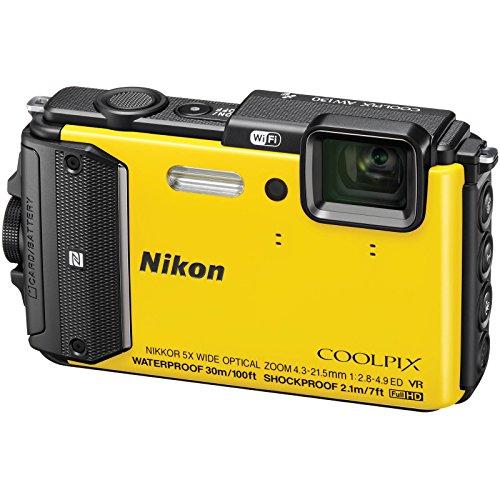 Nikon Coolpix AW130 Shock & Waterproof Wi-Fi GPS Digital Camera (Yellow) with 32GB Card + Case + Battery + Flex Tripod + HDMI Cable + Strap + Kit