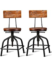 FUBIRUO Vintage Industrial Bar Stool Kitchen Bar Stool Swivel Counter Height Bar Stool Adjustable 19.6-25.5 inch Set of 2
