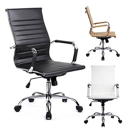 51wiCwetg0L - GTracing Modern Ribbed Office Chair Leather Office Chair High back Ergonomic Chair Swivel Conference Chair