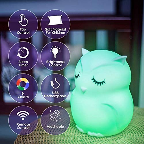Lumipets Cute Animal Silicone Baby Night Light with Touch Sensor LED Nursery Night Lights for Kids Baby Girl Gifts Portable and Rechargeable Color Changing Lamps for Bedrooms