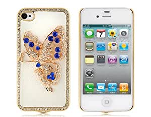 Butterfly Pattern Skinning Case with Diamond Decoration for iPhone 4/ 4S(White)