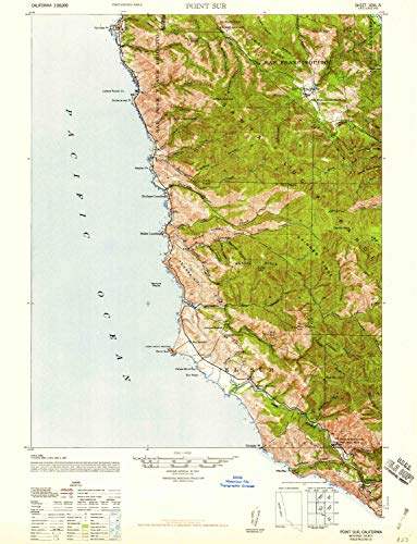 YellowMaps Point Sur CA topo map, 1:62500 Scale, 15 X 15 Minute, Historical, 1947, 21.9 x 16.8 in - ()