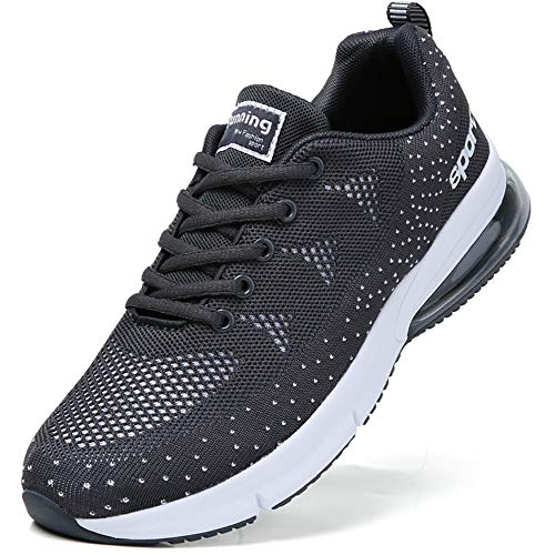 men cushion sport trail running shoes mesh mesh breathable comfort athletic walking shoes youth boys tennis shoes man gym workout jogging casual sneakers runner trainer Grey Size 8.5 (1020-grey-43)