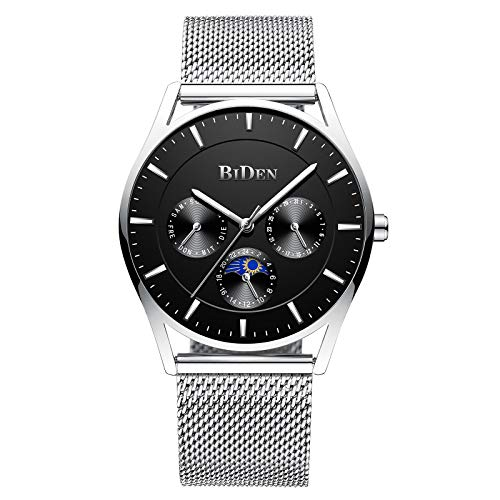 Mens Watches Stainless Steel Mesh Simple Designer Quartz Stylish Watch Luxury Business Classic Dress Gents Watches for Men - Silver Black ()
