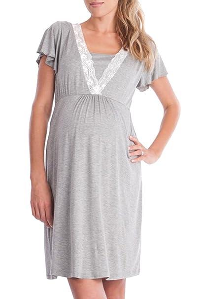 KINDOYO Mujer Mamá Vestido de Maternidad de Verano Borde de Encaje Costura Madre Lactancia Materna Vestido