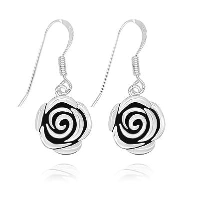 8807c70bc Amazon.com: 925 Sterling Silver Vintage Rose Flower Dangle Earrings ...