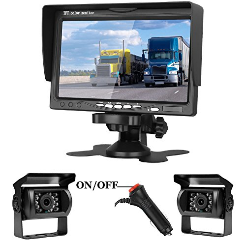 "iStrong Dual Backup Cameras and 7"" Monitor System Kit for Truck/Trailer/RV/Campers/Car Night Vision IP68 Waterpoof Rear/Side/Front View with ON/Off Guide Lines For Sale"