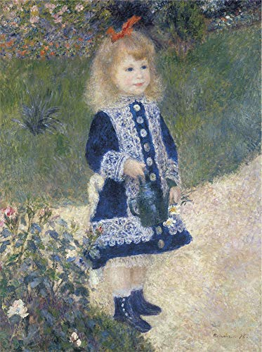 (Girl with Watering Can by Pierre-Auguste Renoir Vintage Impressionist Portrait Print Poster 11x14)