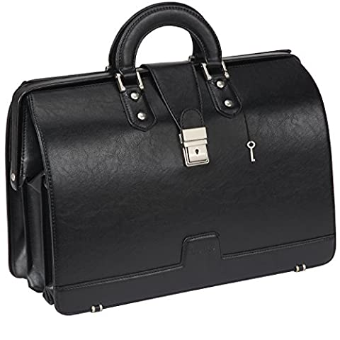 Ronts Mens leather Briefcase Lawyer PU Attache Case with Lock 15.6 Inch Laptop Tote Bag, Black - Attache Brief