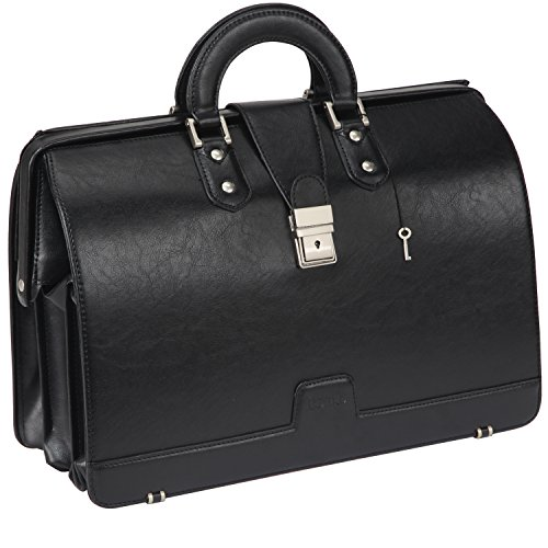 Faux Leather Briefcase (Ronts Mens Faux Leather Briefcase Lawyer PU Attache Case with Lock 15.6 Inch Laptop Business Bag, Black)