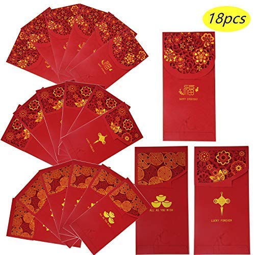 Chinese New Year Red Envelopes Lucky Money Pockets HongBao for Spring Festival, New Year, Birthday, Wedding, Bussiness Occasion (18 pcs/set)