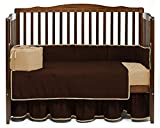 Nursery Baby Reversible Cradle Bedding Set 100% Egyptian Cotton 300 TC 3-Piece Set Fitted Sheet, Comforter,Bumper (Coffee/Beige,Cradle)