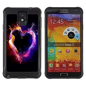 ZAKO Cases / Samsung Note 3 / Color Flame Heart / Robusto Prueba de choques Caso Billetera cubierta Shell Armor Funda Case Cover Slim Armor
