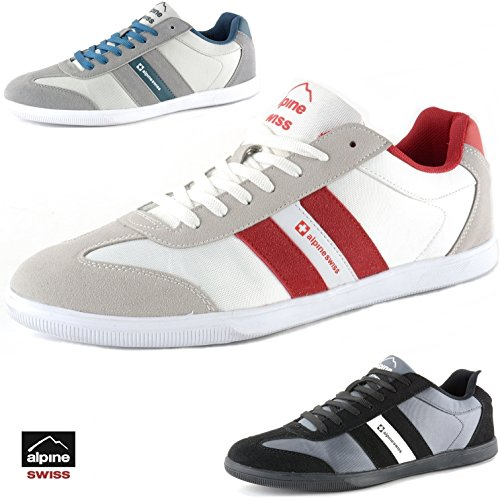 Haris Men's Suede Trim Tennis Shoes Retro Striped Athletic Sneakers by Alpine Swiss