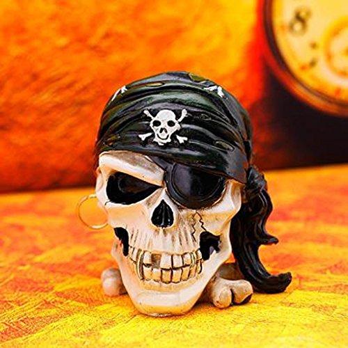 FACAIG Ashtray one-eyed pirate creative skeleton plastic design head skull Retro Rollsnownow furniture -