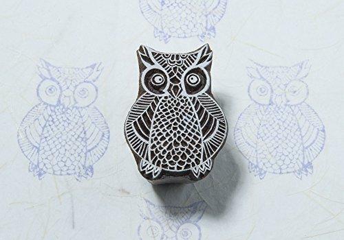 Blockwallah Intricate Owl Wooden Block Stamp