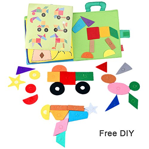 YOUDirect Children Early Education Soft Colth Book, Tangram Jigsaw Puzzle Cloth Toddler Books, Handmade Washable Fabric Activity Shape Matching Hook & Loop Cloth Books for Babies Toddler Kids by YOUDirect (Image #4)