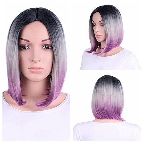❤️❤️ Bob Wigs Short Straight Synthetic Hair Full Wigs for Women Natural Looking Heat Resistant (30cm, Gradient)