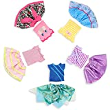 Wakao Wakao1 Set of 5 Color-Topic Clothes for 14.5 Inch American Girl Wellie Wishers Dolls (Purple,Yellow,Blue,Pink,Green)