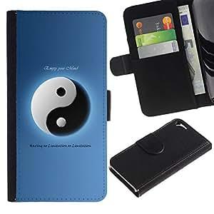 NEECELL GIFT forCITY // Billetera de cuero Caso Cubierta de protección Carcasa / Leather Wallet Case for Apple Iphone 5 / 5S // Tai Chi Yin y yang instrumento