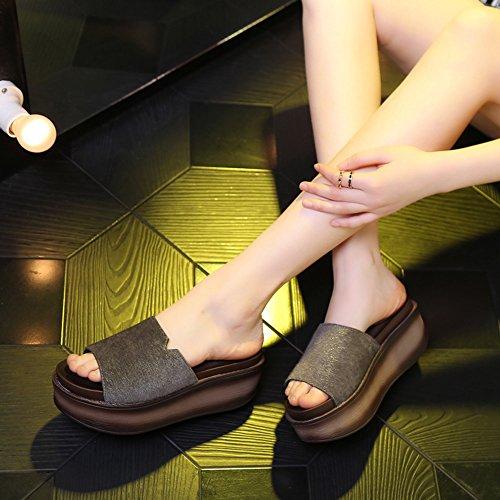 Las Verano De Zapatos 7cm Gruesas Altos 6 color 5 Inferiores Con 4 Mujer Para Mujeres Tamaño Colores Haizhen 6 Eu38 Sandalias Los Deslizadores Forman cn38 uk5 Del Clases Femenino 0w5qnv