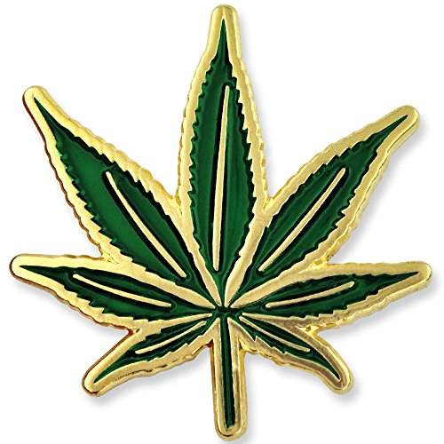 PinMart's Green Pot Leaf Marijuana Cannabis Enamel Lapel Pin