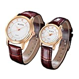 Leather Wrist Watch for Lovers/Couples Casual Fashion Watch Analog Quartz Watches Classic Quartz Business Wristwatch Waterproof watch (White)